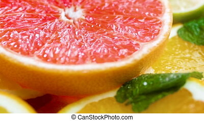 Macro panning video of grapefruit, lemon and orange slices...