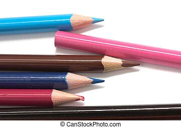macro, pencils., colorido