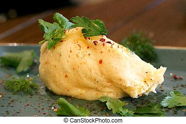 Macro photo of bright delicious potato