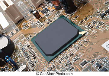 Macro photo of computer motherboard