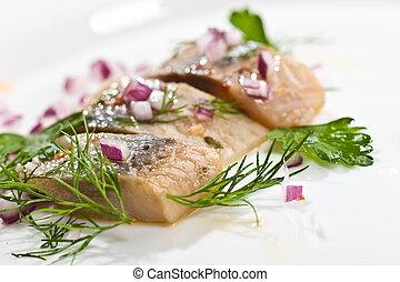 herring - macro picture of herring fillet on the plate