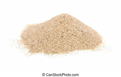 Macro pile desert sand isolated on white backgrounds