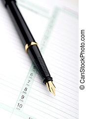 macro, pluma, planificador, fuente, día
