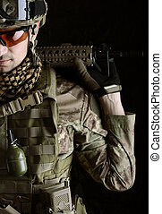 Macro portrait of a military man sniper