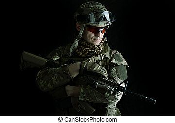 Macro portrait of a military man sniper