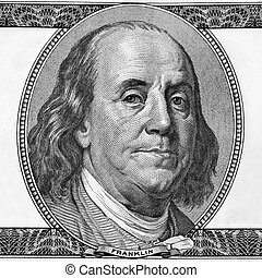 Macro. Portrait of Benjamin Franklin with copyspase