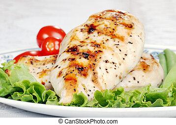 macro, poulet grillé, peu profond, dof