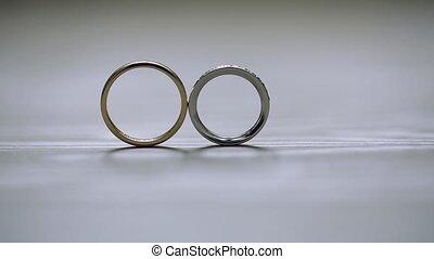 macro, pousse, bijoux, diamon, mariage, or, closeup,...