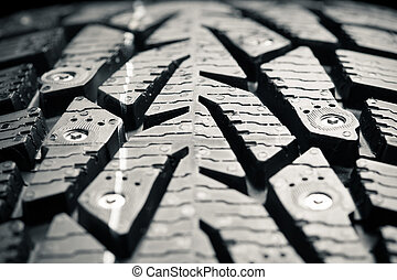 macro, protecteur, vue, hiver, pneu