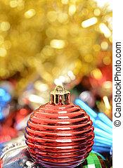 macro red christmas ornament