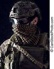 macro, retrato, de, un, guapo, militar, hombre