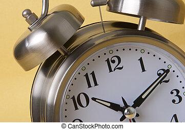 macro, reveil, retro, argent, horloge