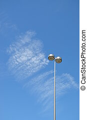 Macro road lamp with blue sky