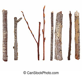 macro, sec, isolé, branches