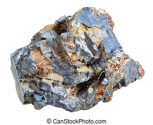 crystalline galena mineral stone isolated - macro shooting...