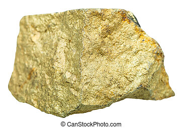 golden Chalcopyrite mineral stone isolated