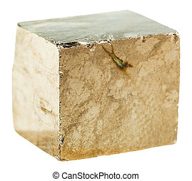Pyrite cubic crystal rock isolated - macro shooting of ...