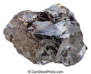 macro shooting of natural mineral stone - sphalerite (marmatite, zinc blende) stone isolated on white background