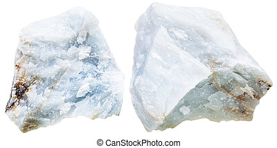two pieces blue Anhydrite (Angelite) rock isolated - macro...