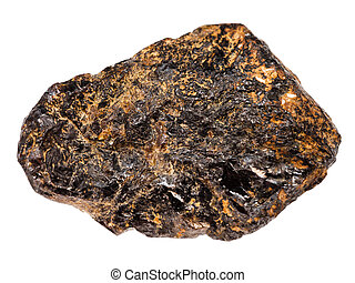 macro shooting of natural rock specimen - rough Cassiterite (Tin ore) stone isolated on white background from Pravourmiyskoe deposit in Khabarovsk Krai, Russia