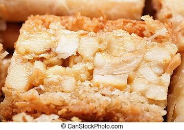 Macro shot of a delicious arabic desert baklava. Is made of...