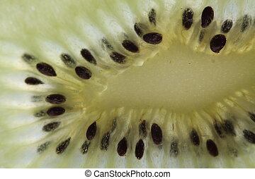 Macro shot of a kiwi. Abstract background