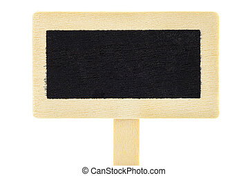Macro shot of an empty wooden signs with a black center on a stick, isolated against a white background with a clipping path.