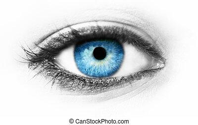 Macro shot of blue eye in blur