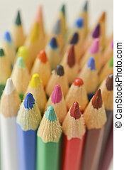 Macro shot of Colorful pencils rainbow