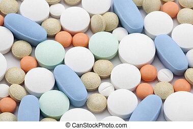 Macro shot of colorful pills