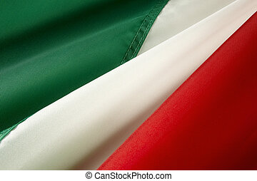 Macro shot of Italian flag - Extreme close up of wavy ...