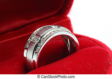 Wedding Diamond Ring in Red Box