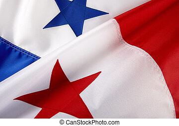 Macro shot of Panamanian flag