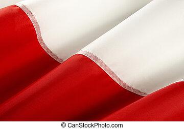 Macro shot of Polish flag
