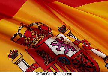Macro shot of Spanish flag