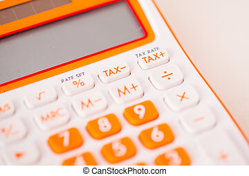 Macro shot of tax calculator