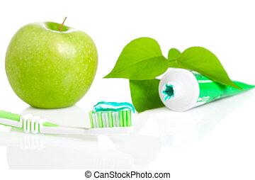Macro shot of toothbrush with dental paste.