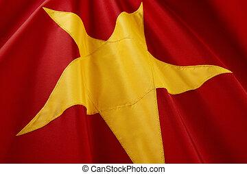 Macro shot of Vietnamese flag