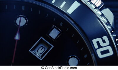 Macro shot of watch with second hand passing. Clock face ...