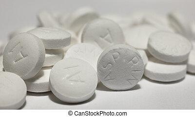 Macro shot of white aspirin pill on white