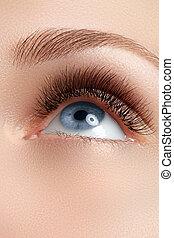 Macro shot of woman's beautiful eye with eyelashes