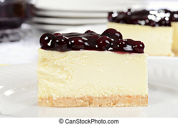 Macro slice of blueberry cheesecake