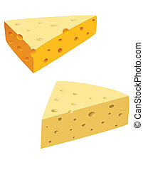 Macro slices of cheese on the white