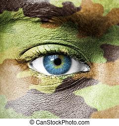 macro, soldat, camo, texture, figure