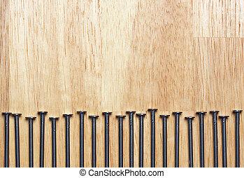 macro, spijkers, hout