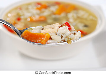 macro spoonful chicken and wild rice soup