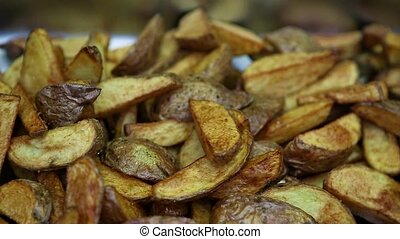 macro street food fried potato - macro homemade fried potato...