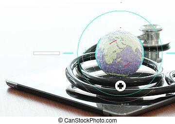 macro, tablette, evenly, numérique, texture, appairé, résumé, globe, peu profond, réseau, stéthoscope, monde médical, dof, concept, studio