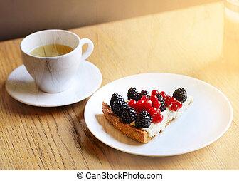 macro, tasse, photo, morceau, thé, gâteau, baies