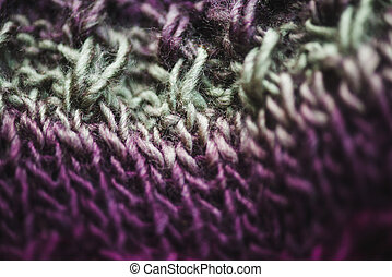 macro, texture, tricoté, vert, violet, closeup, laine, écharpe